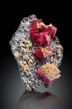 A photo of the Alma Rose rhodochrosite specimen, it is a black rock with gray and yellow crystal formations and 6 large rhodochrosite cubes. Featured on a black background. Minerals And Gemstones, Crystals Minerals, Rocks And Minerals, Crystals And Gemstones, Stones And Crystals, Mineral Stone, Rocks And Gems, Beautiful Rocks, Colorado Usa