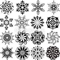 Vektorgrafik : Set of pattern tattoo. 16 Mandalas in black