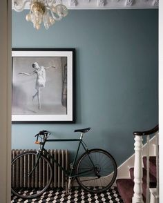 Farrow Ball, Farrow And Ball Paint, Pitch Blue Farrow And Ball, Hallway Wall Colors, Hallway Walls, Blue Hallway Paint, Hallway Colour Schemes, Black Hallway, Hallway Art