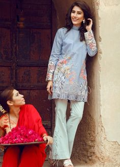 Light blue Pima Cotton Lawn Eid outfit by Cross Stitch Simple Pakistani Dresses, Pakistani Fashion Casual, Pakistani Wedding Outfits, Pakistani Dress Design, Stylish Dresses For Girls, Simple Dresses, Casual Dresses, Fashion Dresses, Frock Design