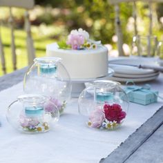 The Clearly Creative Eclectic Votive Trio! Team with flowers and throw in a few cakes! PartyLite is the cherry on top of your #teaparty