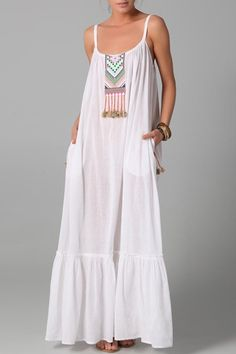 Mara Hoffman Embroidered Peasant Cover Up Dress Style This looks so comfy White Maxi Dresses, Trendy Dresses, Summer Dresses, Peasant Dresses, Summer Maxi, Baby Dresses, Summer Wear, Summer Time, Spring Summer