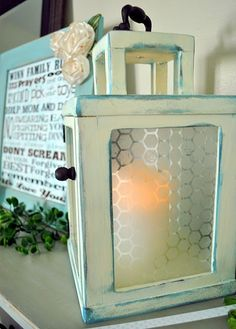 wooden lantern from 5x7 picture frames and a few extra pieces.