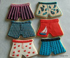 Men's Boxer Style Underwear hand decorated sugar cookies by 3CSC, $23.99