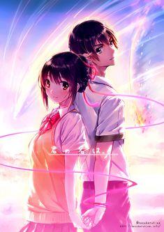 Kimi no Na wa. (Your Name. Kimi No Na Wa, Otaku Anime, Awesome Anime, Anime Love, Anime Chibi, Manga Anime, Mitsuha And Taki, Manga Romance, Couple Manga