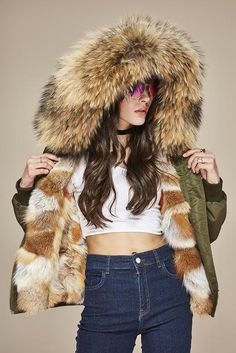 Women Real Fur Bomber Jacket