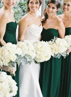 Vestidos de damas de honor color verde esmeralda