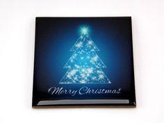 Merry Christmas Blue Tree Drink Coaster Unique Gift MDF Wood by Osarix