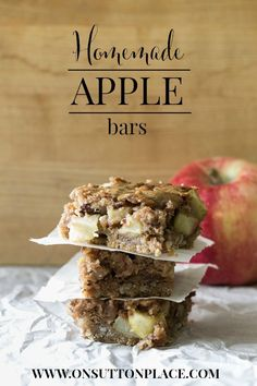 These hearty homemade apple bars have an amazing bottom crust that melts in your mouth!