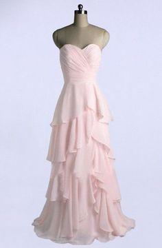 Sweetheart A-line Floor Length Chiffon Light Pink Bridesmaid Dress TY0018 f30917c5450a