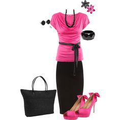 Black and Pink @ Work, created by barbieh on Polyvore <3