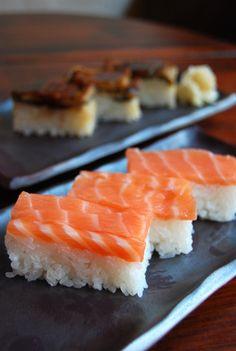 Salmon Oshizushi, Pressed and Block-shaped Sushi : Perfect timing since I bought my sushi press