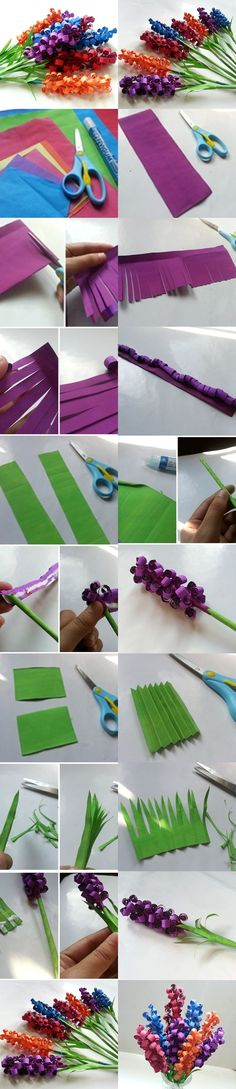 Cute DIY Swirly Paper Flowers. My first thought was to try rolling the paper before cutting into strips.