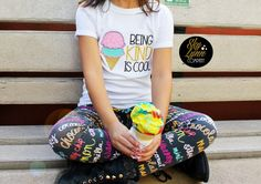 Be Kind Ice Cream Embroidered Applique Shirt or by SkyLynnCo
