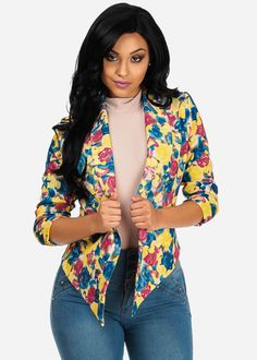 Floral Open-Front Jacket