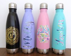 Custom Stainless Steel Water Bottle. Swell bottle inspired, lilly pulitzer inspired. Black, purple, pink, mint. Bachelorette party gift. Bride bottle. Bride tribe bottle. Bridesmaid bottle. /// Monogram, Alpha, Beta, Chi, Delta, Epsilon, Gamma, Kappa, Omega, Omicron, Phi, Pi, Tau, Theta, Zeta