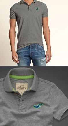 Hollister by Abercrombie and Fitch!New Short Sleeve Mens Grey/Blue/Green Polo-LG #Hollister #Polo