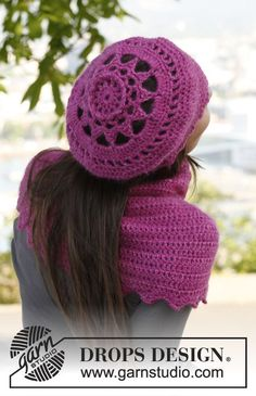 """Blissfull Blossom - Crochet DROPS hat in """"Karisma"""" and """"Kid-Silk"""". - Free pattern by DROPS Design"""