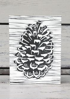 Set Forth Studio – Pinecone Linocut Print Greeting Card, $6 // This greeting card is blank inside, making it perfect for all occasions (especially Christmas!). Buy it now in the shop!