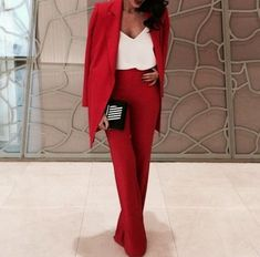 Jumpsuit red suit classy smart fashion blazer pants suit pants blouse women - Women Dresses for Every Age! Classy Outfits, Chic Outfits, Fashion Outfits, Womens Fashion, Day Outfits, Red Outfits For Women, Fashion Styles, Fashion News, Pink Suit