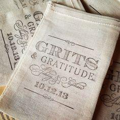 Grits and grattitude Stamp http://www.tiethatbindsweddings.com/ Instagram photo by @tiethatbindsweddings (Mekala Tinnin) | Statigram