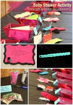 Next time someone has a girl we are SO doing this at the baby shower!! Baby Shower Crafting - everyone makes hair bows!! How fun!!