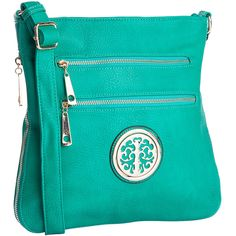 MKF Collection Green Roneeda Crossbody Bag ($30) ❤ liked on Polyvore featuring bags, handbags, shoulder bags, faux leather handbags, green tote bag, zippered tote bag, zipper tote and blue tote bag
