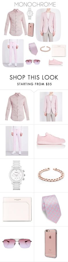 """Monochrome pink suit"" by silverknife ❤ liked on Polyvore featuring Giorgio Armani, Richard James, Slowear, adidas, Emporio Armani, Yves Saint Laurent, ETON, Barton Perreira, Incase and men's fashion"