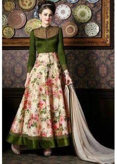 Party Wear Green & Beige Anarkali Suit - 4710