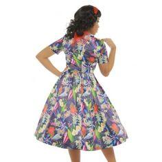 'Elodie' Navy Blue Floral Swing Dress