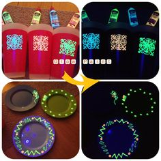 Tulip Glow in the dark paint used to decorate plastic cups and plates. Shown here with and without a black light.