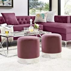 Ideal for modern living spaces, the Inspired Home Theodore Ottoman features a fashionable and luxurious design. This round ottoman is upholstered in plush polyester velvet fabric, and its sleek metal base provides extra visual appeal. Round Ottoman, Living Spaces, Living Room, Upholstered Ottoman, Extra Seating, Fabric Sofa, Inspired Homes, Home Decor Styles, Home Depot