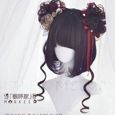 Girl T @ Canival Hair Accessory / Flower Dango , Pelo Lolita, Lolita Hair, Kawaii Hairstyles, Pretty Hairstyles, Wig Hairstyles, Kawaii Wigs, Cosplay Hair, Cosplay Wigs, Anime Wigs