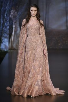 Ralph & Russo - mocha Creme Lace Gown and Matching Lightweight Long Cover