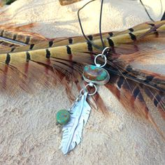 Feather and Arrow Turquoise and sterling by elementsinspired