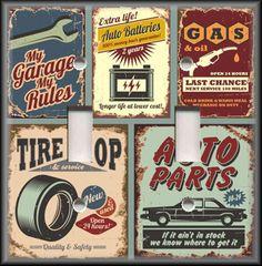 Light Switch Plate Cover - Vintage Car Garage Signs - Man Cave Home Decor 03 #LunaGallerySwitchPlates