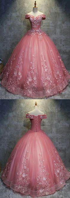 wedding dress cinderella Ballkleid Off-the-Schulter Tll Brautkleid mit Applikationen # . Quince Dresses, Ball Dresses, Evening Dresses, Formal Dresses, Prom Dresses, Pink Ball Gowns, Cheap Dresses, Elegant Dresses, Dresses Uk