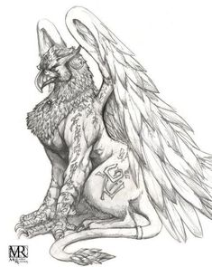 Art gryphon other-sculpture-ideas Mythical Creatures Art, Mythological Creatures, Fantasy Creatures, Animal Sketches, Animal Drawings, Art Sketches, Fantasy Drawings, Fantasy Art, Greif Tattoo