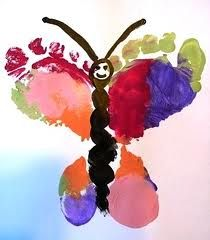 Spring butterfly footprint art (I like the body of this butterfly) ...for spring canvas