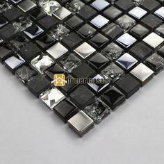 Schwarz Glas Diamant Mixed Stein Und Metall Mosaik Küche Backsplash  Badezimmer Dusche Fliesen Kamin Mosaik HMB1260