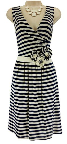 14 Large XL NWT SEXY Womens NAVY/IVORY STRIPED DRESS Ultra-Soft Summer NEW #NewDirections #Versatile