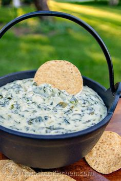 This Spinach and Artichoke Dip recipe is too easy; it's pretty much heating and mixing everything together. The best spinach and artichoke dip.