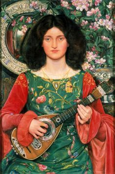 Kate Bunce (English, 1856-1927) ~ Melody (Musica) ~ oil on canvas ~ ca. 1895-1897 ~ Birmingham Museums and Art Gallery,UK ~ viaand more info