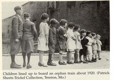Orphan children lined up before traveling west