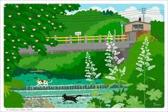 """イラストレーター森俊憲の描く、猫のイラスト『たびねこ』シリーズの新作です。夏の里山の川を渡る猫2匹。『夏の川を渡る』 It is a new work of the illustration """"TABINEKO"""" series of the cat to draw of illustratorToshinori Mori. Two cats across the river of the Mt. summer village. """"I cross the summer river"""" —- I..."""