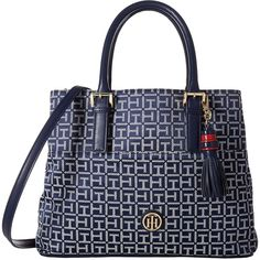 Tommy Hilfiger Summer of Love Convertible Shopper Jacquard... ($60) ❤ liked on Polyvore featuring bags, handbags, shoulder bags, blue, tommy hilfiger purses, navy blue handbags, shoulder strap bags, white handbags and navy blue purse