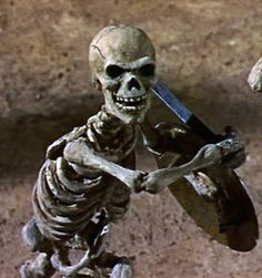 Jason and the Argonauts - Skeleton Warrior, courtesy of the great Ray Harryhausen-- this is a wonderful stop action sequence!