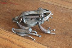 Recycled Scrap Metal Sculpture of a Frog by GreenHandSculpture