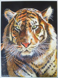 Tiger Painting Giclee archieval quality print by WishGalleryArt