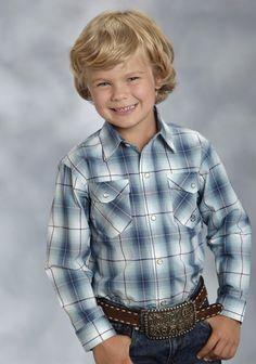 Roper® Boyss Blue Mesa Ombre Plaid Long Sleeve Pearl Snap Cowboy Shirt